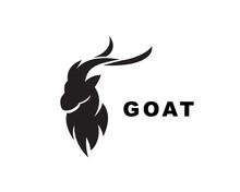 Simple Black Head Goat Logo De...