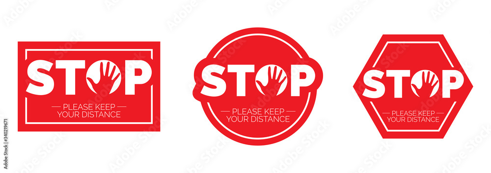 Fototapeta Stop keep social distance, vector. Stop red icon. Sign Stop, keep distance. Hand illustration with stop symbol