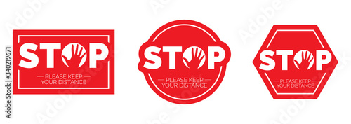 Obraz Stop keep social distance, vector. Stop red icon. Sign Stop, keep distance. Hand illustration with stop symbol - fototapety do salonu