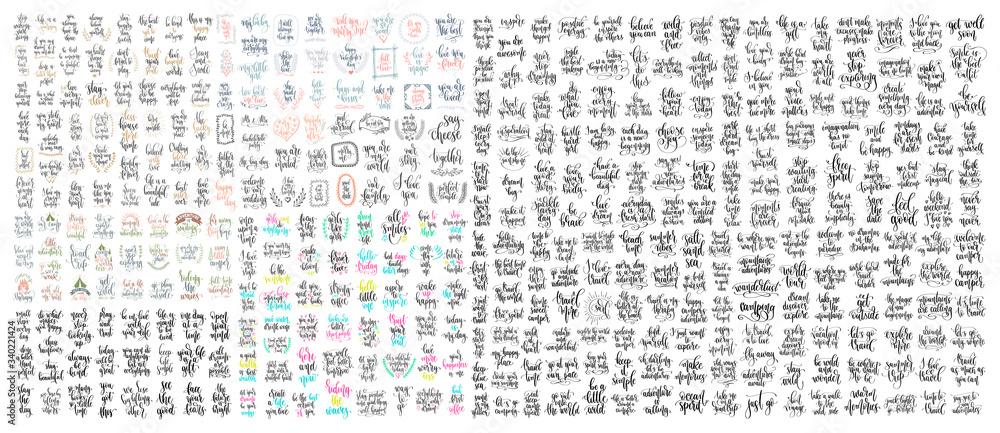 Fototapeta set of 400 hand lettering inscription positive quote, motivation and inspiration phrase