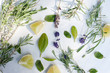 Lemon and lavender leaves background