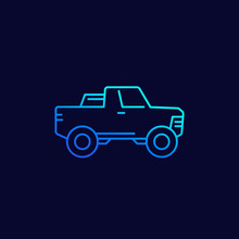 Pickup Truck Icon, Line Vector
