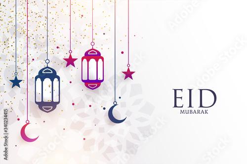 Obraz eid mubarak festival greeting with lamps and moon - fototapety do salonu