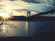 George Washington Bridge Over Hudson River During Sunset