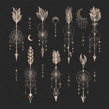 Vector Set Of Sacred Geometric Symbols With Moon, Eye, Arrows, Dreamcatcher On Black Background. Gold Linear Logo And Spiritual Design. Concept Of Imagination, Magic, Creativity, Religion, Astrology.