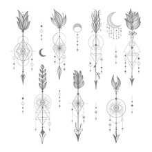 Vector Set Of Sacred Geometric Symbols With Moon, Eye, Arrows, Dreamcatcher On White Background. Grey Linear Logo And Spiritual Design. Concept Of Imagination, Magic, Creativity, Religion, Astrology.