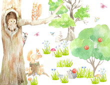 Watercolor Forest With Animals...