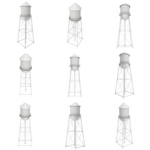 Water Tower Set. Industrial Construction With Water Tank. 3d Render Isolated On White