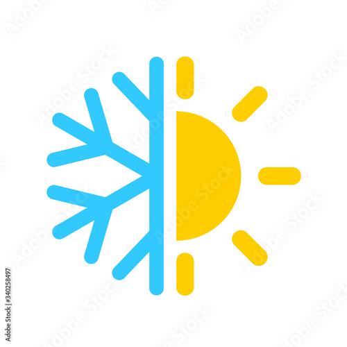 Air con icon, cold and hot temperature Canvas Print