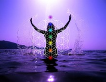 Celebrating Life - Woman On The Beach At Sunset Celebrating Life With Sacred Geometry Flower Of Life And 7 Chakras