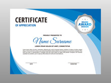 Simple Abstract Blue Wave Certificate Design, Professional Modern Certificate Template Vector