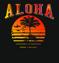 Aloha Sunshine Palm Tree Print And Embroidery Graphic Designs Vector Art