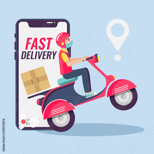 Online delivery service , online order tracking, delivery home and office. Scooter delivery. Shipping.  Man on the bike with mask. Vector illustration Fototapete