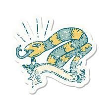 Grunge Sticker Of Tattoo Style Hissing Snake