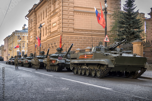 RUSSIA - MAY 9, Russian military transport at the parade on annual Victory Day Canvas Print
