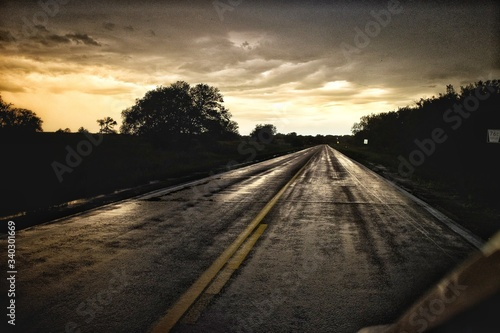 Fototapety, obrazy: View Of Road Against Cloudy Sky During Sunset
