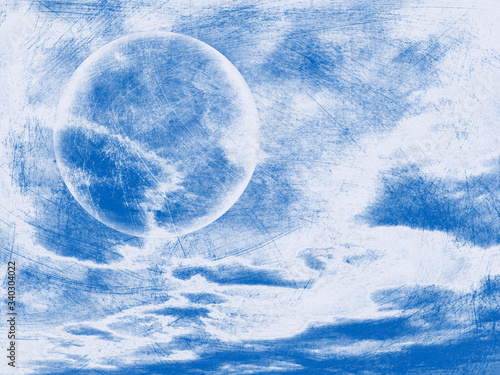 Valokuva blue and white bubble orb and clouds in sky