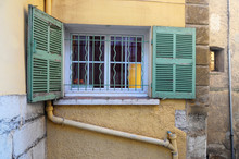 Provencal Window With Green Shutters