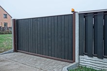 Gray Black Private Gate And Wo...