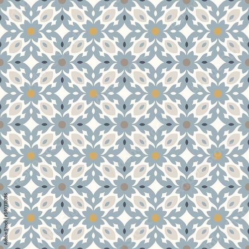 Retro Floor Tiles seamless vector patern, vintage colors Wallpaper Mural