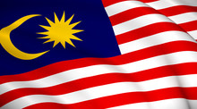 Malaysia National Flag (Malaysian Flag) - Waving Background Illustration. Highly Detailed Realistic 3D Rendering