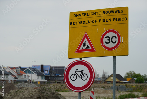 Canvas Print Sign near a construction site in the Netherlands