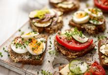 A Set Of Breakfast Sandwiches ...