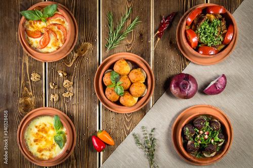 Fototapeta Table with food obraz na płótnie