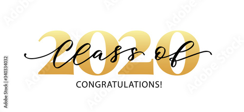 Obraz Class of 2020. Congratulations. Lettering Graduation logo. Modern calligraphy. Vector illustration. Template for graduation design, party, high school or college graduate, yearbook. - fototapety do salonu