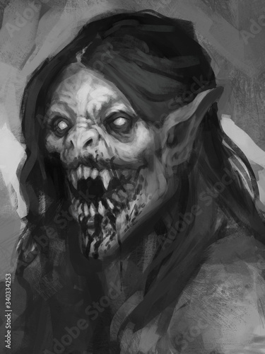 Digital painting of hissing vampire creature with glowing white eyes and long da Fotobehang