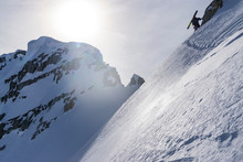 Low Angle View Of Extreme Skier On Mountain
