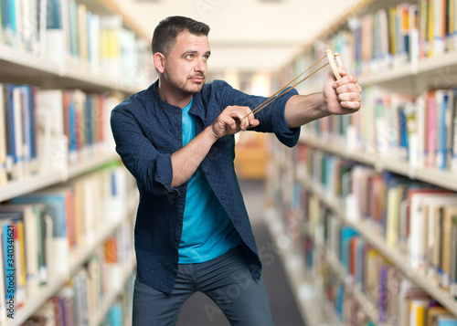 Young man wearing a blue outfit Fototapeta