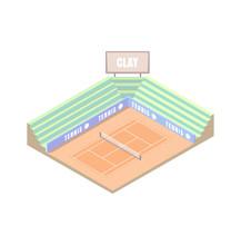 Tennis Court, Clay Field Cover, Orange Isometric Platform, Vector Illustration, Game Of Tennis. Open Area. Wimbledon