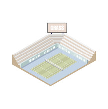 Tennis Court, Grass Cover Isometric Platform, Vector Illustration, Game Of Tennis Low Poly. Open Area. Wimbledon