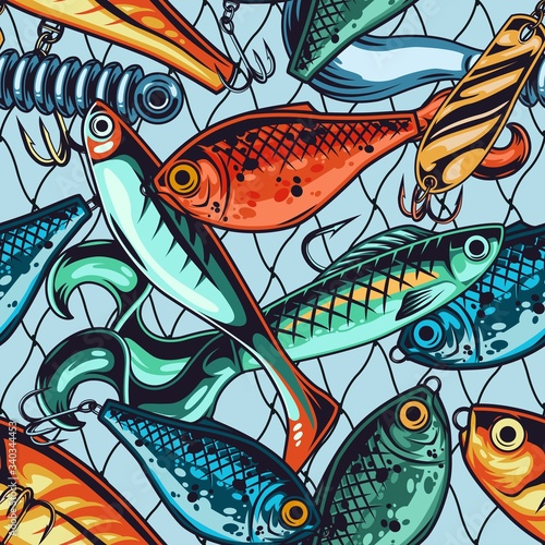 Cuadros en Lienzo Fishing baits and lures seamless pattern
