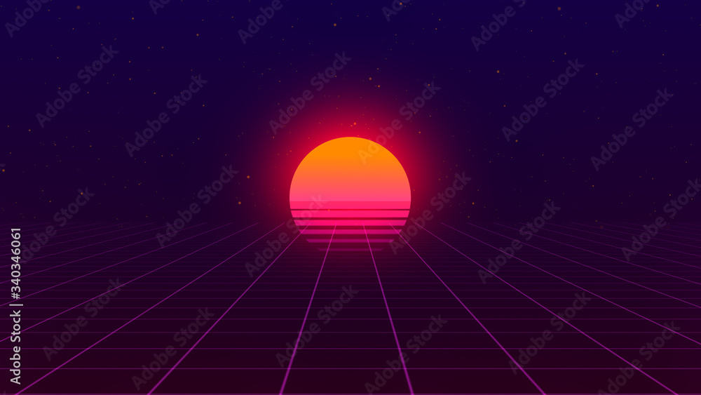 Fototapeta Retro background. 80s style. Futuristic retro horizon landscape with sun and neon light grid. 3D-rendering.