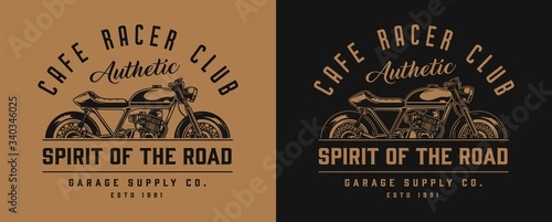 Cuadros en Lienzo Cafe racer motorcycle monochrome label
