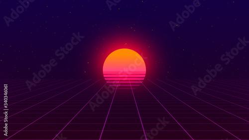 Obraz Retro background. 80s style. Futuristic retro horizon landscape with sun and neon light grid. 3D-rendering.  - fototapety do salonu