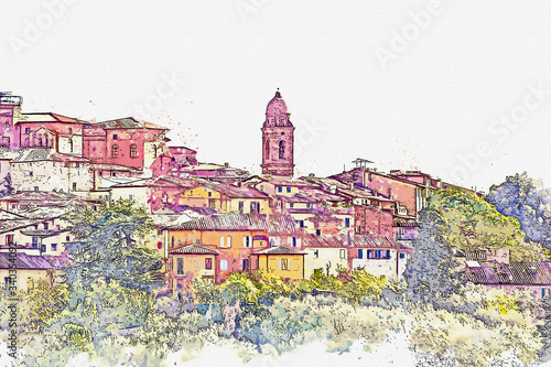 Watercolor drawing picture beautiful landscape view at Siena famous Landmark in Italy.