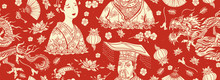 China Seamless Pattern. Old School Tattoo Style.  Chinese Dragon, Emperor, Queen In Traditional Costume, Fan, Red Lantern, Lotus Flower. Ancient History And Culture. Asian Background