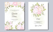 Beautiful wedding invitation card template set with floral and leaves frame Premium Vector
