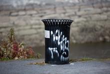 Graffitis On Trash Can