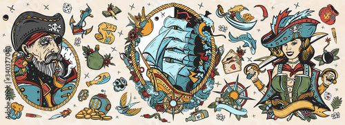 Fotomural Old school tattoo vector collection