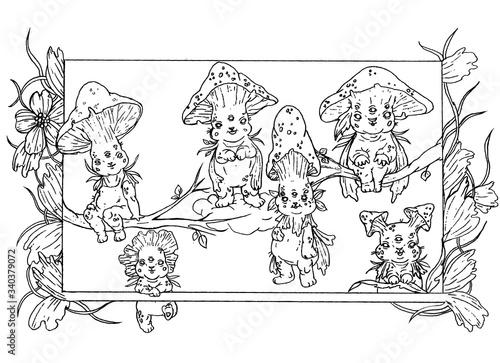 Fabulous, small, cute, funny mushrooms Canvas Print
