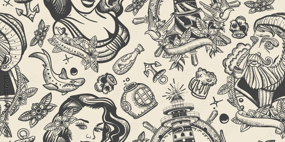 Sea adventure seamless pattern. Retro background. Old school tattoo style. Sea wolf captain and sailor girl. Traditional tattooing art