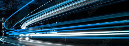 Obraz blue car lights at night. long exposure - fototapety do salonu