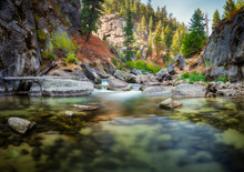 View Of Middle Fork Payette River In Forest