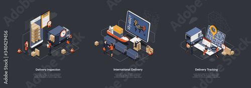 Obraz Isometric 3d International Worldwide Delivery And Global Logistics. Work Staff Process an Many Orders Of Delivery of a Large Consignment Maritime, Land And Railway Transport. Vector Illustrations Set - fototapety do salonu