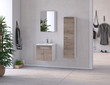 Modern bathroom and bathroom furniture set with bathroom accessories. 3d rendering and design. 3d rendering