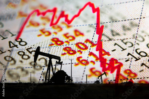 Fototapety, obrazy: Stock market declining chart and oil pump jack - abstract background